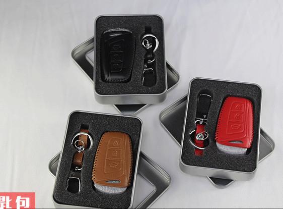 Чехол для ключа c 3-мя кнопками (кожа) для Санта Фе 4 (Hyundai Santa Fe 2015 - 2018) чехол для ключа силиконовый разные цвета эмблема hyundai chn для санта фе 4 hyundai santa fe 2015 2018
