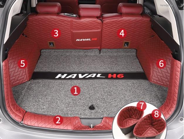 Коврики в багажник 8 элементов полиуретан Haval H6 2021- коврики в багажник 8 элементов полиуретан серые с черным haval h6 2021