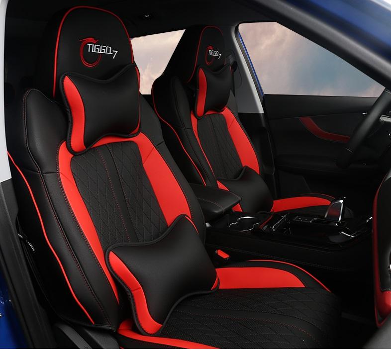 Чехлы на сидения (красные) с подушками Chery Tiggo 7 Pro 2020