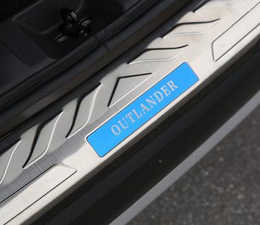 накладка на порог багажника и задний бампер нержавеющая сталь для mitsubishi outlander 3 2011 2014 Защитная накладка на задний бампер BLUE с надписью OUTLANDER для Mitsubishi Outlander 2015 -