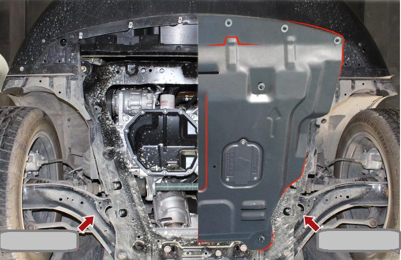 Защита картера двигатели и кпп, стальная c технологическими лючками для FAW Besturn X80 недорого