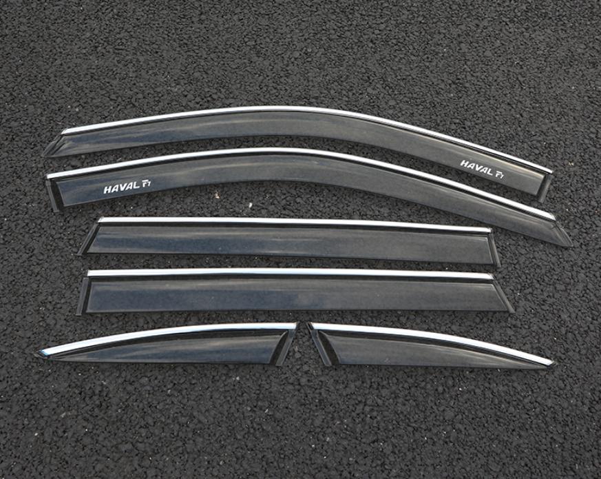 Фото - Дефлекторы боковых окон с хром-молдингом из 6 элементов для Haval F7 (Хавал Ф7) 2018 + молдинг боковых окон хром для haval f5 хавал ф5 2019