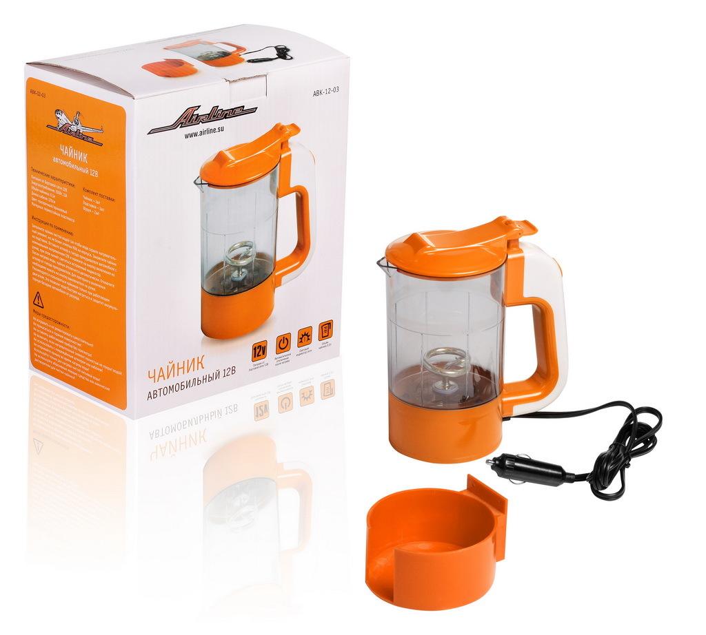 Чайник автомобильный (12В, прозрачный/оранжевый, 0,5 литра) Airline ABK-12-03