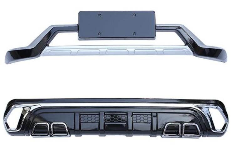 накладки на передний и задний бамперы вставок оранжевый для mitsubishi outlander 3 2011 2014 Накладки защитные на бампера (передняя и задняя, двойной выхлоп с хром вставками) для Mitsubishi Outlander 3 (2011 - 2014)