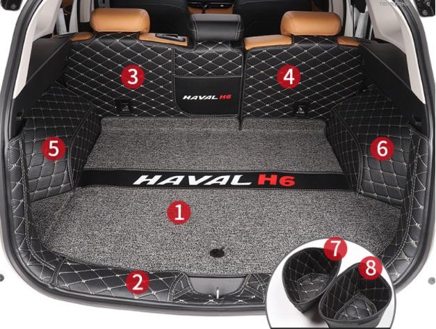 Коврики в багажник 8 элементов (полиуретан, серые) Haval H6 2021- коврики в багажник 8 элементов полиуретан серые с черным haval h6 2021