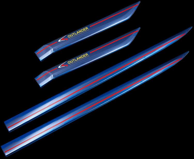 молдинг на низ боковых дверей нержавеющая сталь синие для mitsubishi outlander 3 2011 2014 Молдинг на низ боковых дверей (нержавеющая сталь, синие) для Mitsubishi Outlander 3 (2011 - 2014)