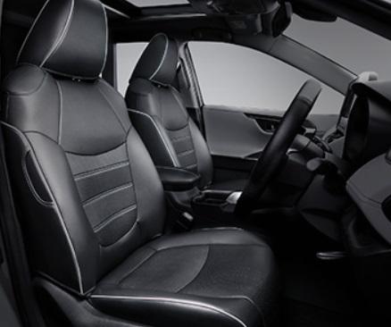 Чехлы на сидения (черные с белым) Toyota RAV4 2019-