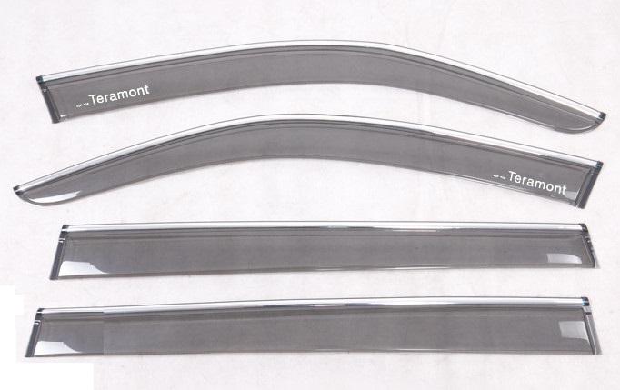 Дефлекторы боковых окон с надписями и хром-молдингом (прозрачные) CHN для Volkswagen Teramont 2017 - obd модуль автоматического закрытия окон и люка chn для volkswagen teramont 2017