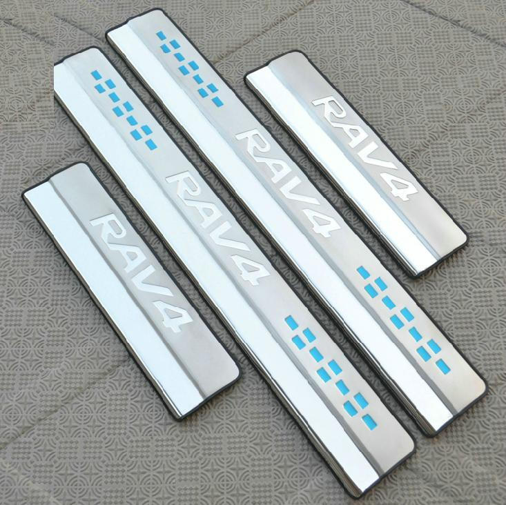 Накладки на пороги (внешние) для Toyota RAV4 (2013 - 2015) накладки на внутренние пороги для toyota camry 2014