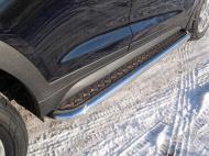 Пороги с площадкой (75х42 мм) ТСС Hyundai Tucson 2018-