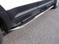 Пороги овальные гнутые с накладкой TCC HYUNCRE16-22 Hyundai Creta 2016-