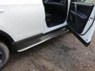 Пороги с площадкой (нерж. лист) 42,4 мм ТСС TOYRAV15-15 для Toyota RAV4 2015-