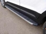 Пороги алюминиевые с пластиковой накладкой TCC HYUNCRE16-06GR Hyundai Creta 2016-