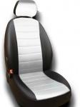 Чехлы на сиденья (экокожа) чёрный + белый Seintex 86062 для Nissan Qashqai 13-