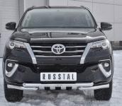 Передняя защита бампера (с логотипом) Russtal TFZ-002878 для Toyota Fortuner 2017-
