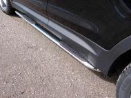 Пороги овальные гнутые с накладкой TCC HYUNSFGR16-17 Hyundai Santa Fe 2018-2020