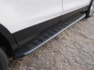 Пороги алюминиевые с пластиковой накладкой TCC FORKUG17-32BL Ford Kuga 2016-