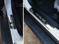Накладки на пороги (лист зеркальный надпись RAV4) ТСС TOYRAV15-04 для Toyota RAV4 2015-