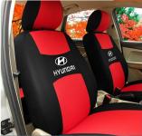 Чехлы на сиденья красные, тканевые с логотипом Hyundai Solaris 2017 -