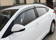 Дефлекторы окон с хромированным молдингом и крепежом  для Hyundai Solaris 2017 -