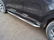 Пороги овальные гнутые с накладкой TCC KIASPORT18-28 Kia Sportage 2018-