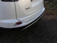 Накладки на задний бампер (лист зеркальный) ТСС TOYRAV15-06 для Toyota RAV4 2015-