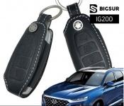 Чехол для ключа (кожа, черный) Bigsur IG200 для Санта Фе 4 (Hyundai Santa Fe 2018 - 2019)