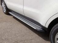 "Пороги алюминиевые ""Slim Line Silver"" 1720 мм ТСС TOYRAV15-32S для Toyota RAV4 2015-"