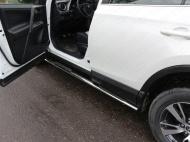 Пороги овальные с накладкой 75х42 мм ТСС TOYRAV15-12 для Toyota RAV4 2015-
