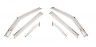 Дефлекторы окон с хром молдингом и надписью (6 элементов) для КИА Селтос (KIA Seltos) 2020