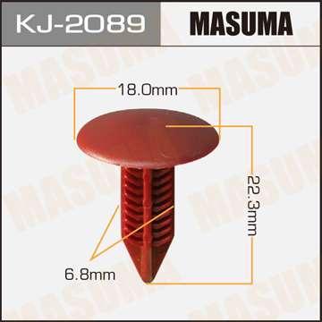 Клипса автомобильная (автокрепеж) салонная темно-красная, уп. 50 шт. Masuma KJ-2089