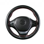 Оплетка на руль черная с красной нитью LuckyBobi LCK01100