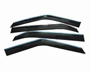 Дефлекторы окон с хром молдингои и доп крепежом NOBLE для Hyundai CRETA