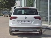Защита заднего бампера с уголками 42мм (КРОМЕ OFF ROAD)VGZ-002722 для Volkswagen Tiguan 2017-