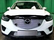 Защита радиатора Premium, хром, верх (с парктроником) 3D Allest MAZCX5.15.PREMIUM.park.chrome для Mazda CX-5 (2015 - 2017)