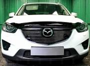 Защита радиатора Optimal, чёрная, верх (с парктроником) (3D) Allest MAZCX15.OPTIMAL.park.black для Mazda CX-5 (2015 - 2017)