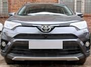Защита радиатора, чёрная, верх (с камерой) Allest TRAV15.top2.black для Toyota RAV4 2015-