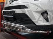 Защита переднего бампера двойная d 60/42 мм, нерж. CAN Otomotiv TOR4.33.3782 для Toyota RAV4 2015-