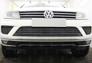 Защита радиатора Premium, чёрная, центральная Allest для VW TOUAREG (2014-2018)