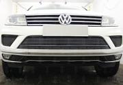 Защита радиатора Premium, чёрная, боковая часть (2 части) Allest для VW TOUAREG (2014-2018)