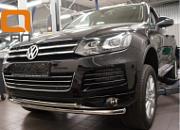 Защита переднего бампера двойная d 60/60 мм, нерж. CAN Otomotiv для VW Touareg (2010-2018)