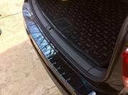 """Накладка на задний бампер с загибом глянцевая серия """"Черный Перламутр"""" Alu-Frost для Volkswagen Tiguan 2017 -"""