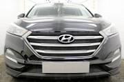 Решетка радиатора верхняя Optimal (черная) Автолидер HTUS15.OPTIMAL.top.black для Hyundai Tucson (2015 - по н.в. )