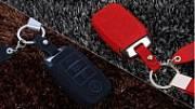 Чехол для ключа (черный, красный) VIP Premium для KIA Sportage 2018 - 2019