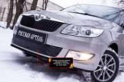 Зимняя заглушка решетки переднего бампера Русская Артель Skoda Fabia II 2010-2013